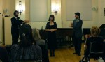 with soprano Marjorie Berg and composer Raphael Fusco at Mannes
