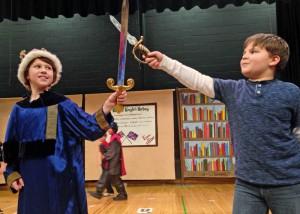 Swordplay posing between Arthur and Bernard, after the show