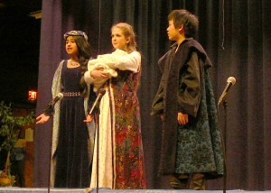 Merlin and the Lady of the Lake convince Lady Igraine she must give up the baby Arthur