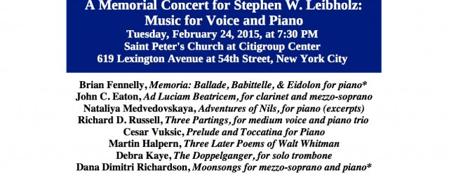 """""""Three Partings"""" for soprano and piano trio will be performed Tuesday, February 24 at Saint Peter's Church at Citigroup Center. The concert is being presented by the New York Composers […]"""