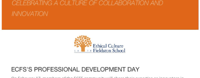 "I will be pre­sent­ing a lec­ture at Eth­i­cal Cul­ture Fieldston's ""A Day of Inno­va­tion in"